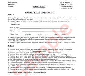 Example JB's Agreement Sheet