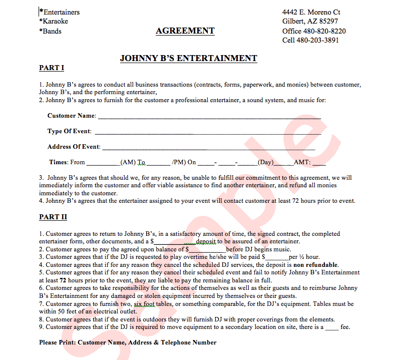 Example Jbs Agreement Sheet Johnny Bs Entertainment